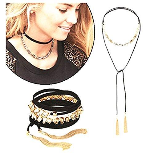 Dot & Line Color sapphire tassel necklace bracelet