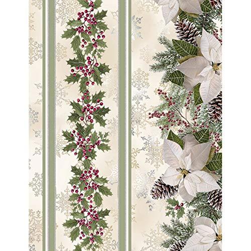 Timeless Treasures Fabrics A Very Merry Christmas Cream Holly Poinsettia Pine Stripe