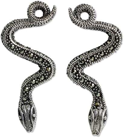 NOVICA Marcasite .925 Sterling Silver Drop Earrings 'Tropical Snake'