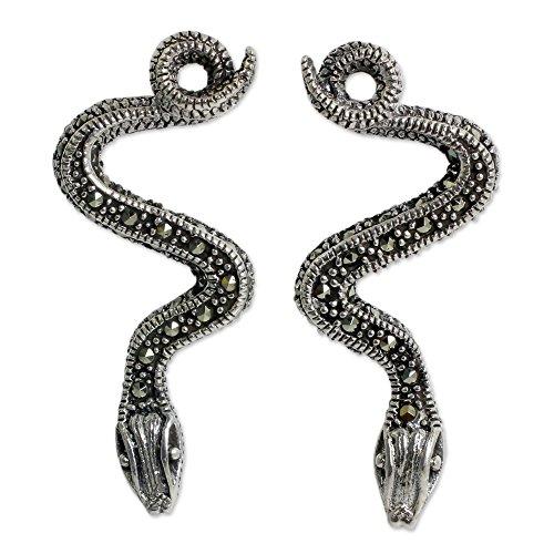 NOVICA Marcasite .925 Sterling Silver Drop Earrings 'Tropical (Novica Marcasite Earrings)