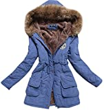 Aro Lora Women's Winter Warm Faux Fur Hooded Cotton-Padded Coat Parka Long Jacket US 12 Blue