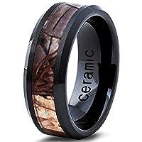 Ceramic Wedding Band Ring 8mm 6mm for Men Women Comfort Fit Camo Design Polished Bevel Edge FREE Custom Laser Engraving Lifetime Guarantee