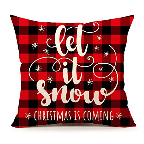 4TH Emotion Snowflake Let It Snow Christmas Throw Pillow Cover Red Black Buffalo Plaids Cushion Case for Sofa Couch 18 x 18 Inch Cotton Linen