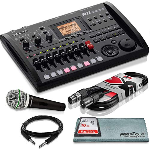 Zoom R8 8-Track Digital Recorder/Interface/Controller/Sampler with Samson Supercardioid Neodymium Dynamic Handheld Microphone and Accessory Bundle ()