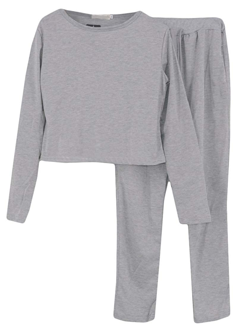 DressU Womens 2 Piece Active Solid Color Loose Fit Weekend Sportswear Tracksuit