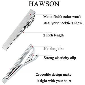 HAWSON Custom Unique Tie Clip Pin for Men Necktie Accessories Matt Rhodium (Matt Rhodium)