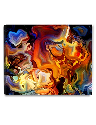 DECORARTS - Abstract Art(Stained Glass Pattern), giclee Canvas Wall Art for Home Decor. 30x24 x1.5 (Glass Wall Decor)