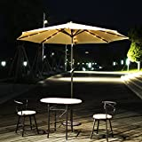 Cheap Adeco 9 Feet Outdoor Market Aluminum Solar Cell LED Light Umbrella with Tilt and Crank, for Patio Yard Beach cafe and pub,8 Ribs Rust-resis Heavy DutyWithout base