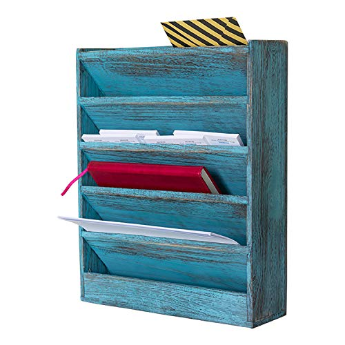 Comfify Rustic Wood Document Filing Organizer for Home or Office - Wall Mounted Magazine Holder with 5 Slots - Mail Organizer for Wall - Real Torched Wood Mail Rack Tray - Rustic Blue