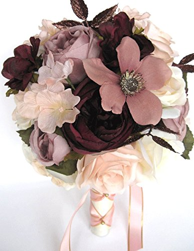 Bronze Cabbage Rose - Wedding bouquets Bridal Silk Flowers ROSE GOLD Blush EGGPLANT 17 piece package wedding Bouquet centerpiece flower arrangements