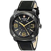 Wenger Men's 01.1051.106 Escort Pantalla analógica reloj de cuarzo suizo negro