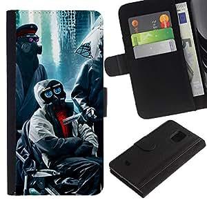 LASTONE PHONE CASE / Lujo Billetera de Cuero Caso del tirón Titular de la tarjeta Flip Carcasa Funda para Samsung Galaxy S5 Mini, SM-G800, NOT S5 REGULAR! / Apocalypse Gas Mask Robots Red Eyes City