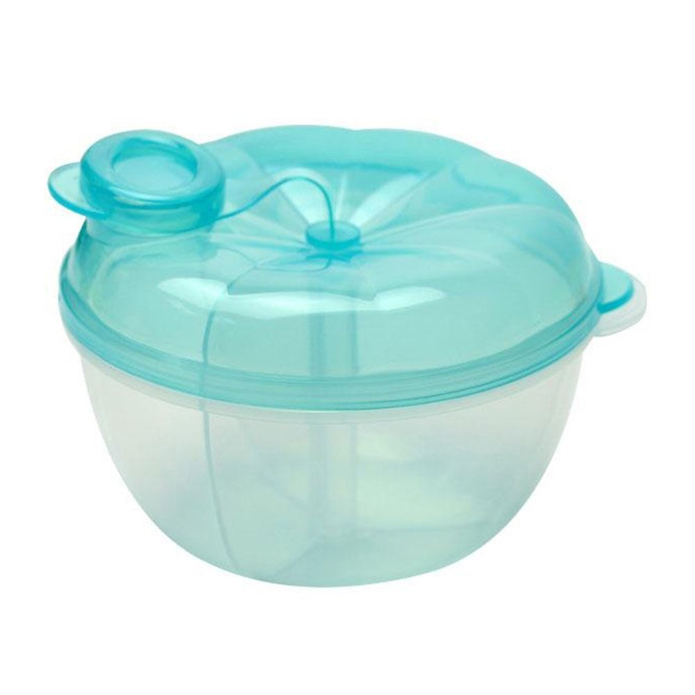 3 Interlayer Dispenser Food Storage Snack Container Baby Feeding Travel Milk Powder Box Food Bottle Container size Pumpkin (Blue)