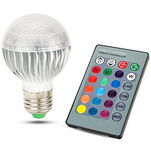 Skylarking LED RGB Bulb E27 15W Remote Control LED Light Bulb RGB 16 Color Changing 360 Degree LED Lamp Dimmable 110-240V (15 Watts) (Rave Lightbulb compare prices)