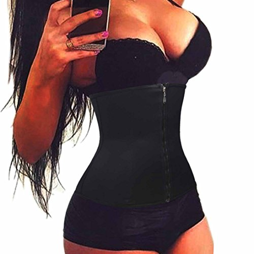 BRABIC Waist Trainer Cincher Zip Front Slimmer Weight Loss UnderBust Girdle (L Fits 29.1-32.2Inch Waistline, Black) - Jean Leggings As Seen On Tv