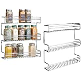 mDesign Wall Mount Three Tier Kitchen Spice Rack for Countertops or Cabinets - Pack of 2, Chrome