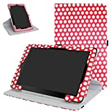 """RCA 10 Viking Pro 10.1 Rotating Case,Mama Mouth 360 Degree Rotary Stand With Cute Lovely Pattern Cover For 10.1"""" RCA 10 Viking Pro Tablet,PolkaDot Red"""