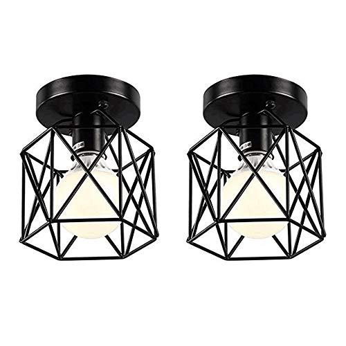 Hexagon Flush - KIRIN 2 Pack Black Mini Semi Flush Mount Vintage Industrial Ceiling Light Geometric Hexagon Metal Cage Lamp Shade E26 E27 Socket for Hallway, Bedroom, Powder Room Decorative Light