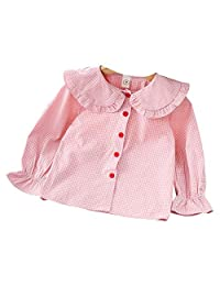 FCQNY Kids Baby Little Girls Outwear Clothes Plaid Ruffled Collar Tops Blouse
