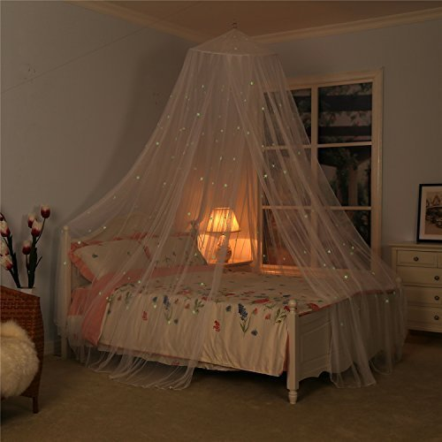 Bed Canopy with Fluorescent Stars Glow in Dark for Baby, Kids, Girls Or Adults, Anti Mosquito As Mosquito Net Use to Cover The Baby Crib, Kid Bed, Girls Bed Or Full Size Bed