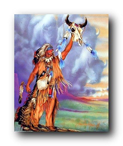 Nice Wall Decor Skull Spirit Of Indian Warrior Native American Art Print Poster  (16x20)