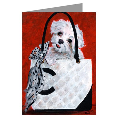 Maltese In A Haute Couture Inspired Handbag Notecard Set (Maltese Note Cards)