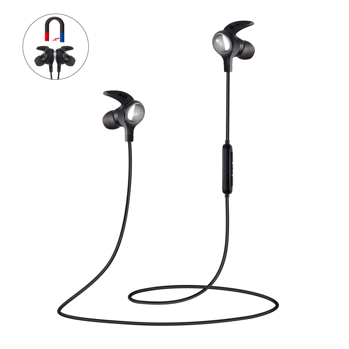 Bluetooth Headphones, IE Crown Wireless Running Earphone Bluetooth 4.1, Magnetic In-Ear Sport Headphones with Mic, Noise Cancelling, HiFi Stereo Sound Sports Earbuds, Working more than 6 Hours Fit for Sports, Gym, Travelling (Black).