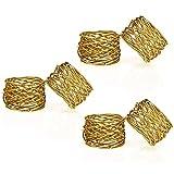 PUBAMALL a mano oro de servilleteros,Servilleteros de oro Anillos para servilletas redondos Hebillas para bodas, Cenas, Decoraciones de mesa (paquete de 6 anillos)