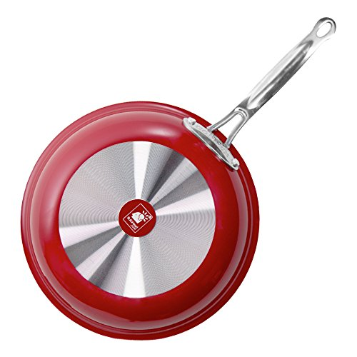 Red Copper 10 inch Pan by BulbHead Ceramic Copper Infused Non-Stick Fry Pan Skillet Scratch Resistant Without PFOA and PTFE Heat Resistant From Stove To Oven Up To 500 Degrees