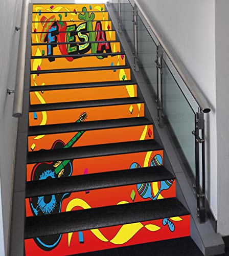 Stair Stickers Wall Stickers,13 PCS Self-adhesive,Fiesta,Latino Pattern with Swirled Stripe Frame with Musical Instruments Confetti Design,Multicolor,Stair Riser Decal for Living Room, Hall, Kids ()