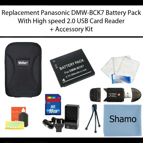 Replacement Panasonic DMW-BCK7 Battery Pack for Panasonic Lumix DMC-FH5 Digital Cameras + High Speed Memory Card Reader +16GB Memory Card +AC/DC Charger +Deluxe Hard Shell Case +Mini Tripod +Accessory Kit by Shamo International