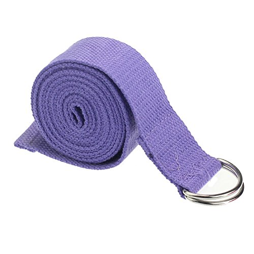 Yoga Straps Emubody 6ft Cotton Fitness Exercise Yoga Strap Yoga Belt D Ring (Light Purple, 6FT)