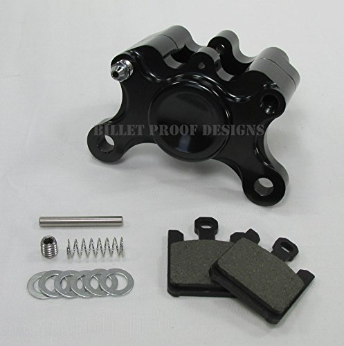 Billet Aluminum Motorcycle 2-Piston Rear Brake Caliper WITH PADS - Anodized Black - Harley Chopper Bobber Cafe Racer