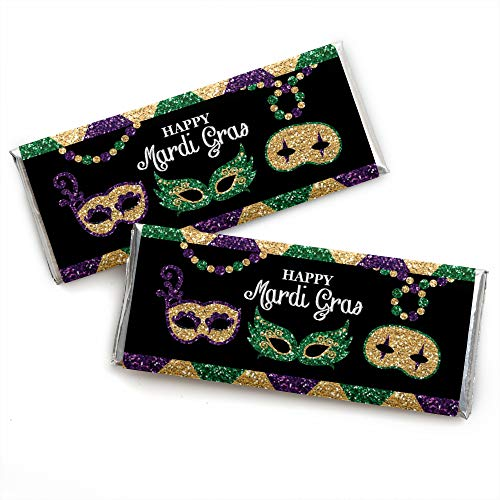 Mardi Gras - Candy Bar Wrapper Masquerade Party Favors - Set of 24 -