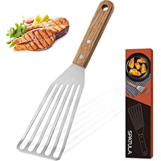 ROMANTICIST Stainless Steel Wide Thin Kitchen Fish Spatula, Lightweight and Durable Slotted Spatula, Beveled-Edged Design Cooking Spatula Perfect for Turning