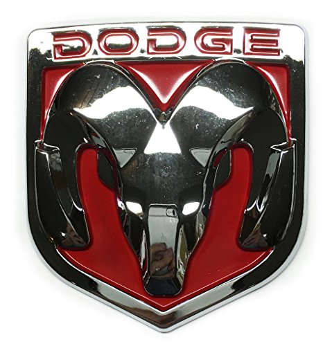 New Red / Chrome Ram Head Emblem Replaces OEM Mopar Dodge Ram Charger Challenger 68082011AA