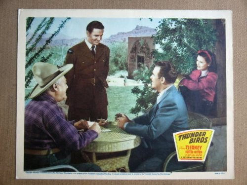 (FW45 Thunder Birds GENE TIERNEY/P FOSTER Lobby Card. This is a lobby card NOT a video or DVD. Lobby cards were displayed in movie theaters to advertise the film. Lobby cards measure 11 by 14 inches.)