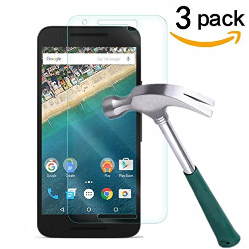 Nexus 5X Screen Protector,TANTEK [Bubble-Free][HD-Clear][Anti-Scratch][Anti-Glare][Anti-Fingerprint] Premium Tempered Glass Screen Protector for LG (Google) Nexus 5X ,[Lifetime Warranty]-[3Pack]