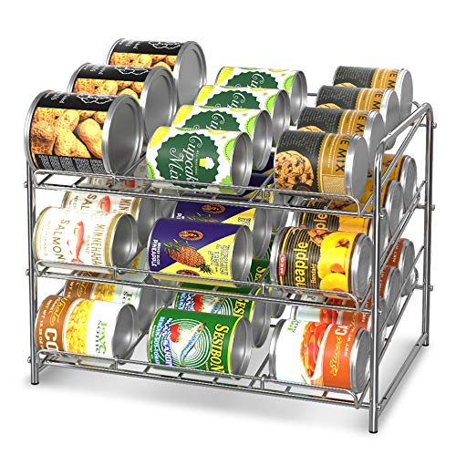 Simple Trending Can Rack Organizer, Stackable Can Storage Dispenser Holds up to 36 Cans for Kitchen Cabinet or Pantry, Chrome (Can Gravity Rack Feed)