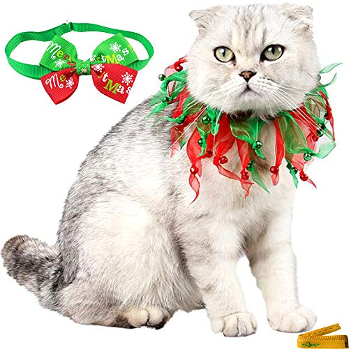 Collar Pet Dog Christmas Ribbon (Wiz BBQT Adjustable Pet Decorative Christmas Red and Green Jingle Bells Bow Tie Collars for Cats Rabbits Small Dogs)