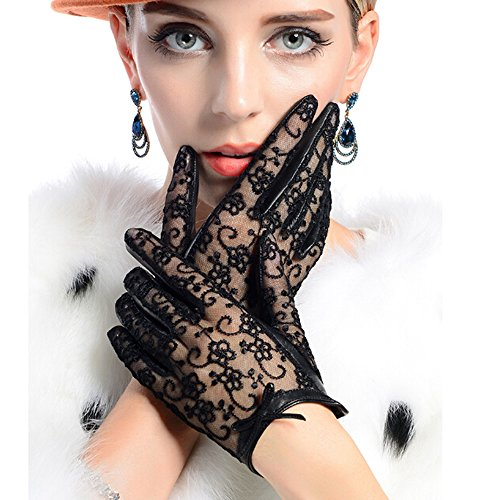 Ezyoutdoor Women Lady's Leather Printing Lace Driving Finger-less Gloves UV Protection for Outdoor Riding Activities Travel Walking Driving - Finger Sheepskin Leather Glove