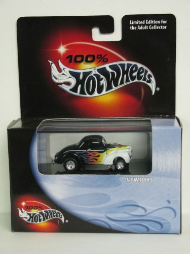 (100% Hot Wheels - Limited Edition Cool Collectibles - 41 Willys - 1:64 Scale Classic Collector Car Replica mounted in collector display case. Black & White Body Colors.)