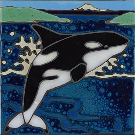 6 x 6 inch Pacific Blue Tile Original Hand Painted Ceramic Art Tile Asparagus