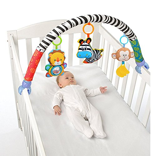 X-star Baby Travel Play Arch Stroller/Crib Accessory,Cloth Animmal Toy and Pram Activity Bar with Rattle/Squeak/Teethers(Stripe)