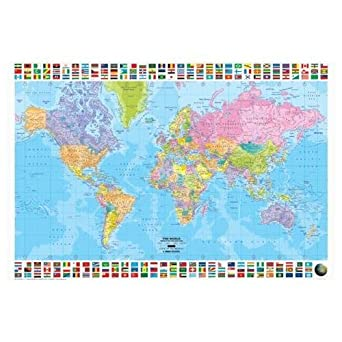 Amazon world map political english language huge laminated world map political english language huge laminated poster by laminated posters gumiabroncs Choice Image