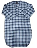 Botony 500 - Mens Plaid Flannel Nightshirt, Light Blue, Navy 28368-M/L