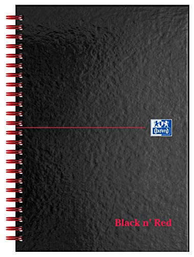 Price comparison product image Oxford Black n' Red A5 Glossy Hardback Wirebound Notebook,  Ruled and Perforated,  140 Page,  1 Notebook