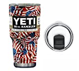 : YETI Coolers 30 Ounce (30oz) (30 oz) Custom Dipped Rambler Tumbler Cup Mug with Exclusive Spill Resistant Lid (Dipped Veteran Patriotic Flag)