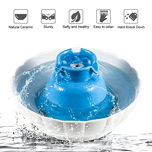 Pet Water Fountain for Dogs and Cats YOUTHINK 2.1L Ceramic Water Drinking Bowl with Replacement Filters, Foam