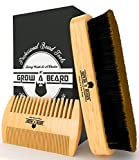 Facial Massage For Beard Growth - Beard Brush and Comb Set for Men - Friendly Gift Box And Cotton Bag - Best Bamboo Beard Grooming Kit for Home and Travel - Great for Dry or Wet Beards - Adds Shine and Softness.